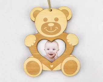 Teddybear Picture Frame Christmas Ornament