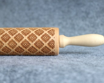 Lace Engraved Embossing Rolling Pin, Wood Rolling Pin, Cookie - by Melodywoodart