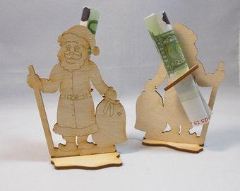 Santa Claus, Santa Claus with banknote holder wood