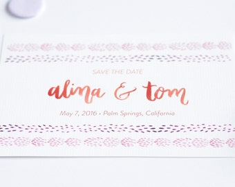 Kinako Pattern Watercolor Wedding Save the Date with Custom Watercolor Hand-Lettering - Sample