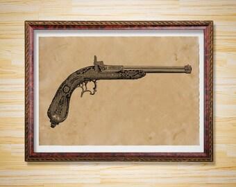 Antique pistol print Vintage decor Weapon poster