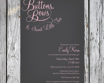 Buttons and Bows Baby Shower Invites