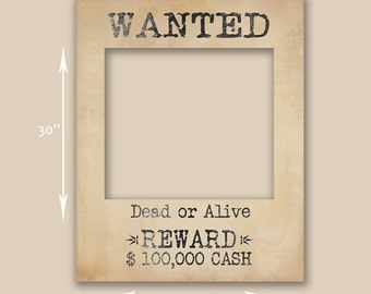 Wanted poster prop, Instant Download, giant photobooth prop, cut for large wanted poster, diy wild west photobooth props, printable western