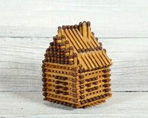 Vintage Wedding Couple of Matchhouses with Windows / Made from Real Matches / Handmade house / Good for Decoration