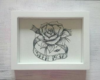Stippled Flower Tattoo Banner Print