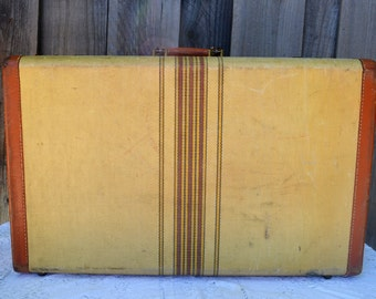 Vintage Striped Suitcase, Tweed, Cream  with Red Stripes, Brown Leather Handle and Trim, Photo Prop or Repurposing
