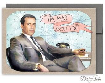 "Valentine's Day Card - Mad Men Card - Funny Card - Retro Card - Don Draper Card - ""Madmen"""