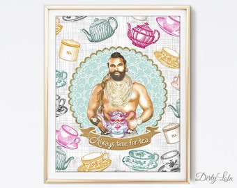 Always time for Tea - Mr. T - Portrait - Illustration - Art Print - Kitchen - Home Decor - Tea