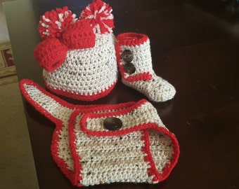 Crochet hat, diaper cover, and Boots