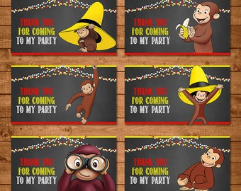 Curious George Party Tags Chalkboard Theme -- Curious George Treat Tags -- Curious George Birthday - Curious George Printables - Favor Tags