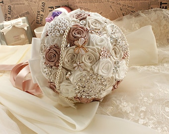 Champagne Roses Wedding Bouquet with Beads Rhinestones Crystal Satin Ribbon Pearls Bridal Bouquet BridesmaidBouquet Wedding Flowers