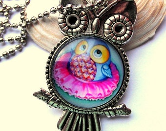 Cabochon necklace OWL colorful necklace silver
