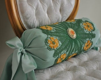 Green Crochet Bolster Decorative Pillow, Bolster Pillow, Vintage Bolster, Accent Pillow, Sofa Bolster, Home Decor