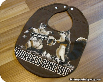 Funny Baby Bib, Squirrels Gone Wild Recycled T-shirt Bib - Funny Baby Shower Baby Boy Gift