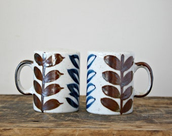 Vintage Japan Speckled Stoneware Salt and Pepper Shakers, Stone,Brown and Blue Leaf 1970's Shakers with Handles