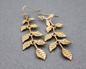 Leaf Charm Long Drop Earrings. Bridesmaid Gift , Bridesmaid Earrings. Modern and Simple Earrings .