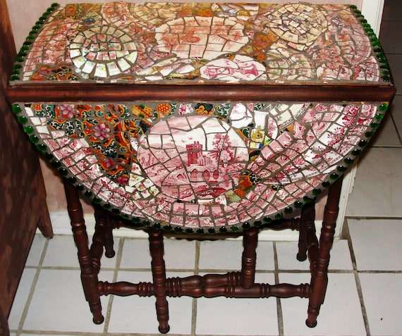 mosaic drop leaf table side table foyer table. Black Bedroom Furniture Sets. Home Design Ideas