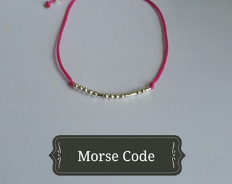 Customized secret message bracelet morse code. sterling silver.silk.minimalist.boho chic.dainty.colorful.dot and dash.initial.name