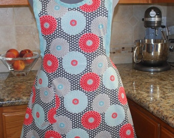 Retro 1950's style apron in aqua and coral