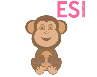 Monkey SVG, DXF, EPS, cutting file for use with Silhouette Studio and Cricut Design Space. Baby Giraffe, Baby showers, New baby.