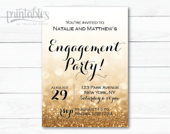 engagement party invitation printable black and by printablesbytc. Black Bedroom Furniture Sets. Home Design Ideas