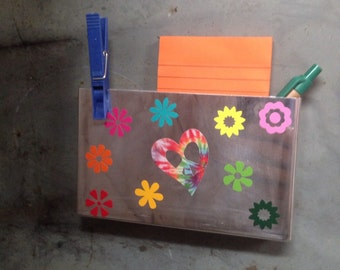 School locker storage box gift for teen dorm Peace love Flowers Back to school