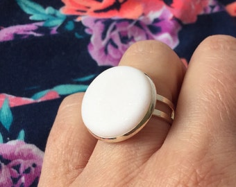 White ring, statement ring. Big rings. polymer clay centre. silver plated adjustable base.