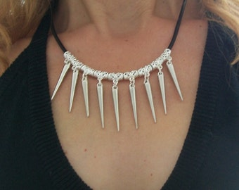 Necklace Goth Punk Rocker to pics spikes black leather for women