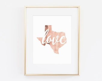 Love Texas, gallery wall art, watercolor print, watercolor, texas wall art, texas decor, peach wall art