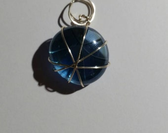 Wire wrapped marble pendant