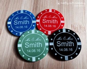 Personalised Poker Chip Casino style wedding favours