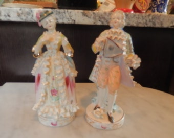 GERMANY MAN and WOMAN Figurines with Lace Trim