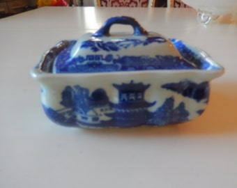 BLUE and WHITE SOAPDISH