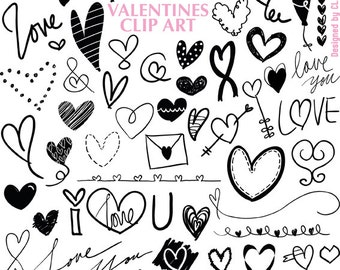 Hand drawn Valentines Sweet Love Hearts vector doodle digital clip art 300dpi ZIP file transparent individual pngs & 1 eps instant download