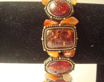 vintage amber colored beaded bracelet