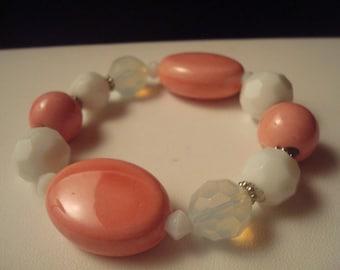Set of vintage pink beaded bracelets