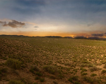 Nevada, Palmetto Ghost Town, Ghost Town, Panorama, Sunset, Desert, Brush, Mountains, Skyline