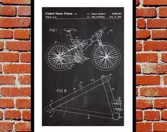 Mountain Bike Print, Mountain Bike Poster, Mountain Bike Patent Bike, Mountain Bike Art, Trek Bike Poster, Mountain Biking Decor p212