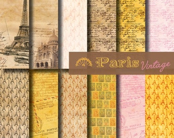 Digital paper Paris Vintage Mail