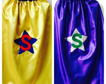 Kids Superhero Costume, Reversible Superhero Cape, Custom Superhero Cape, Robin's Bobbins. Choose colour/s + letter/s for both sides.