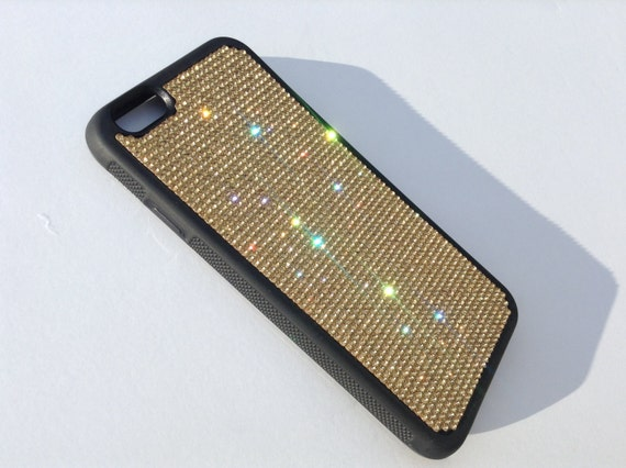 "iPhone 6 / 6s  4.7"" Gold Topaz Rhinestone Crystals on Black Rubber Case. Velvet/Silk Pouch Bag Included, Genuine Rangsee Crystal Cases"