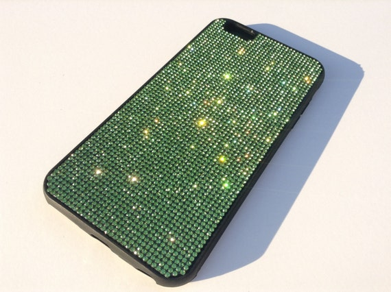 iPhone 6 Plus / 6s Plus Peridot Green Diamond Crystals on Black Rubber Case. Velvet/Silk Pouch Bag Included, Genuine Rangsee Crystal Cases