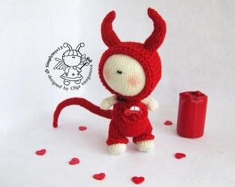 Halloween Devil Doll.Halloween pattern.Amigurumi Devil Doll.Knitting pattern.Knitted round.PDF instant download.Knitting Devil Doll