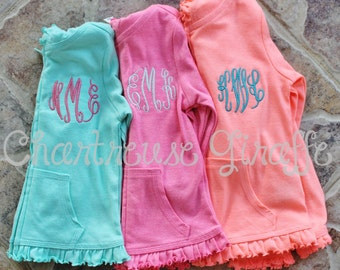 Monogrammed Zip-up Ruffle Hoodie. Fall Hoodie. Girls lightweight jacket