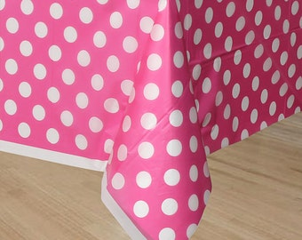 Disney Mickey Mouse Minnie Mouse Birthday Party Table Cover Decoration White Polka dot Hot Pink Great for Photo Booth back drop Cake Guest