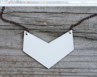 White Chevron Pendant | Cedar, Light, Geometric Necklace