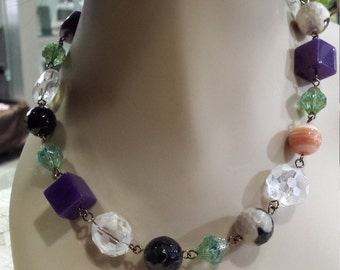 One strand necklace with assorted semi precious stones