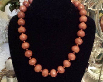 One strand necklace Italian faceted copper stone