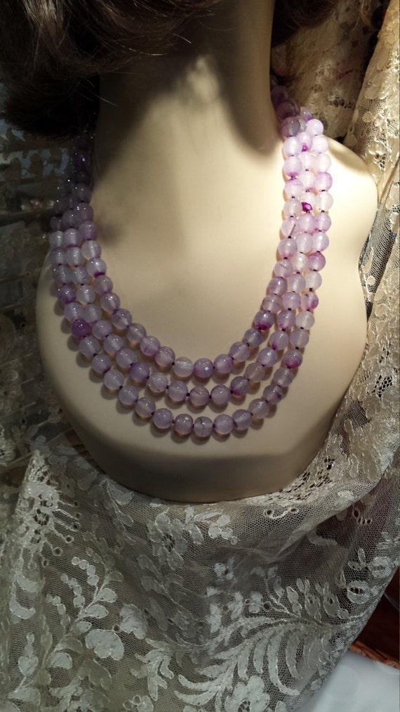 three strand Semi-precious stone designer necklace