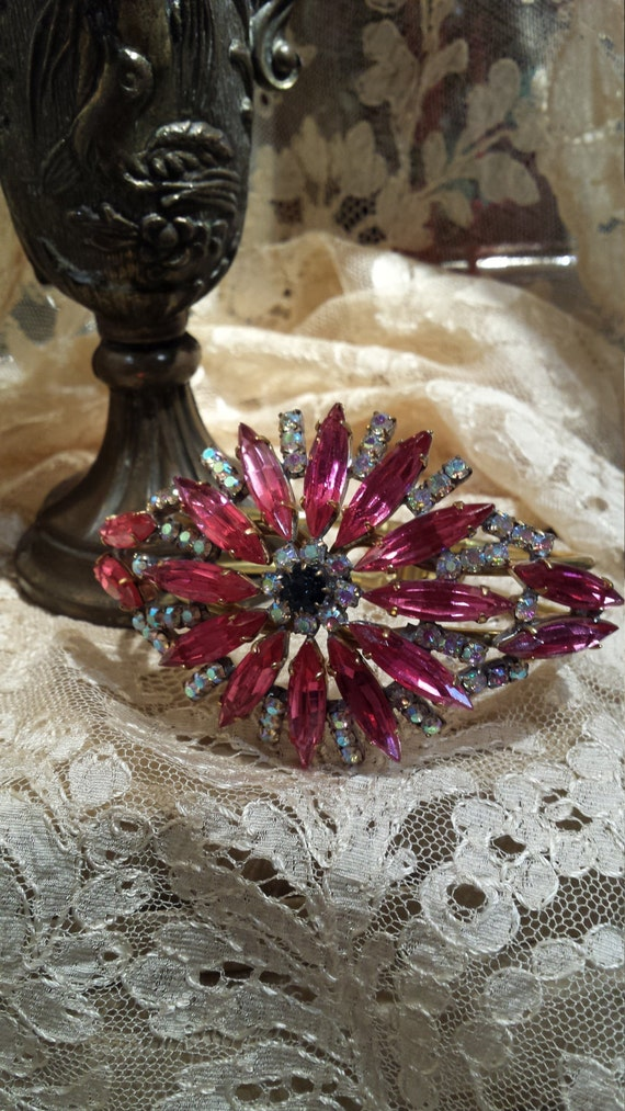 Vintage pink and blue rhinestone bangle